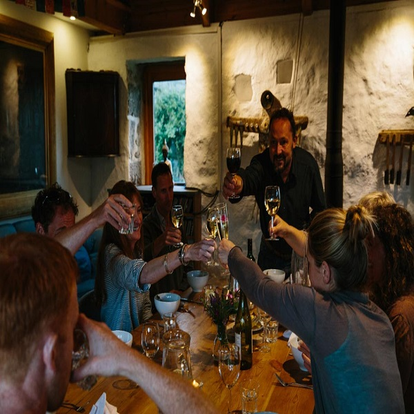 Photograph of a wild food Supper Club Evening at Fat Hen Cookery School in West Cornwall
