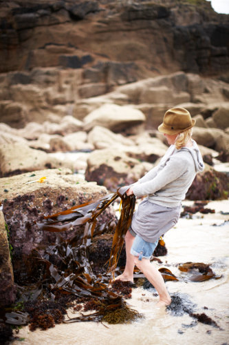 Photograph of Caroline Davey from Fat Hen, the Wild Cookery School in Cornwall, foraging seaweed