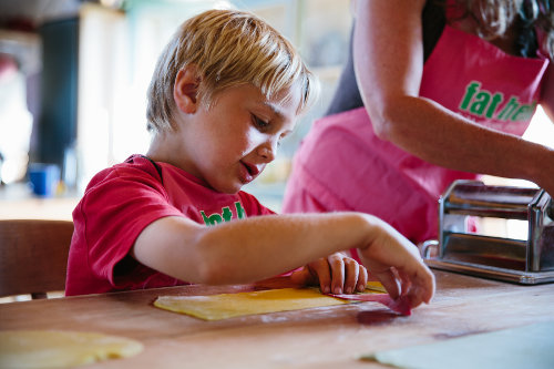 Photograph of a children's cookery course at Fat Hen, the Wild Cookery School in Cornwall