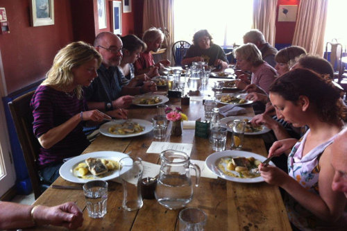 Photograph of our wild food lunch on the forage and feast day at the Gurnards Head