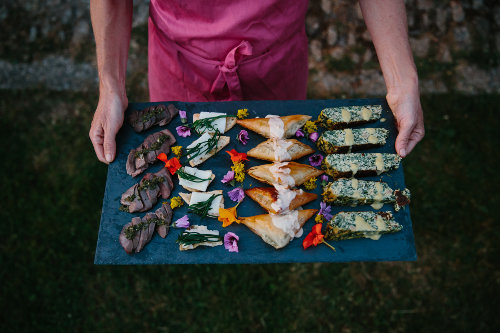 Photograph of the wild canapes served on our wild food walk and canapes event at Fat Hen, The Wild Cookery School, in West Cornwall