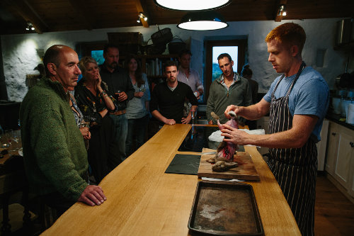 Photograph of a game cookery course at Fat Hen, the Wild Cookery School in Cornwall