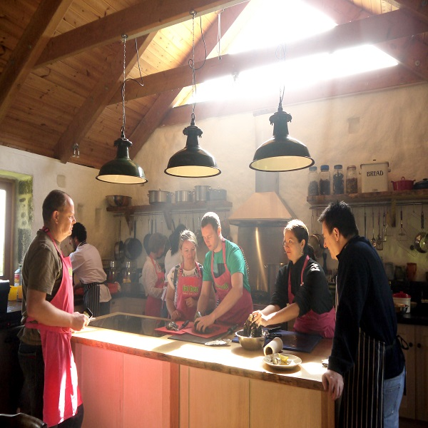 Photograph of a wild food cookery course at Fat Hen in Cornwall
