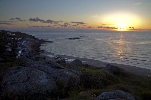 Photograph of Sennen Beach at sunset, 4 miles from Fat Hen